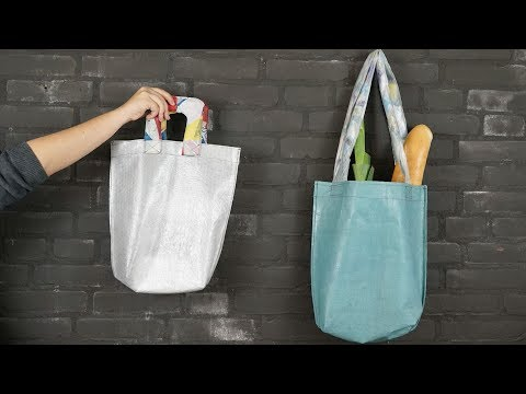 Make a durable tote bag from shitty plastic bags #preciousplastic