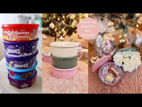 Recycle plastic sweet tins into gift/storage boxes