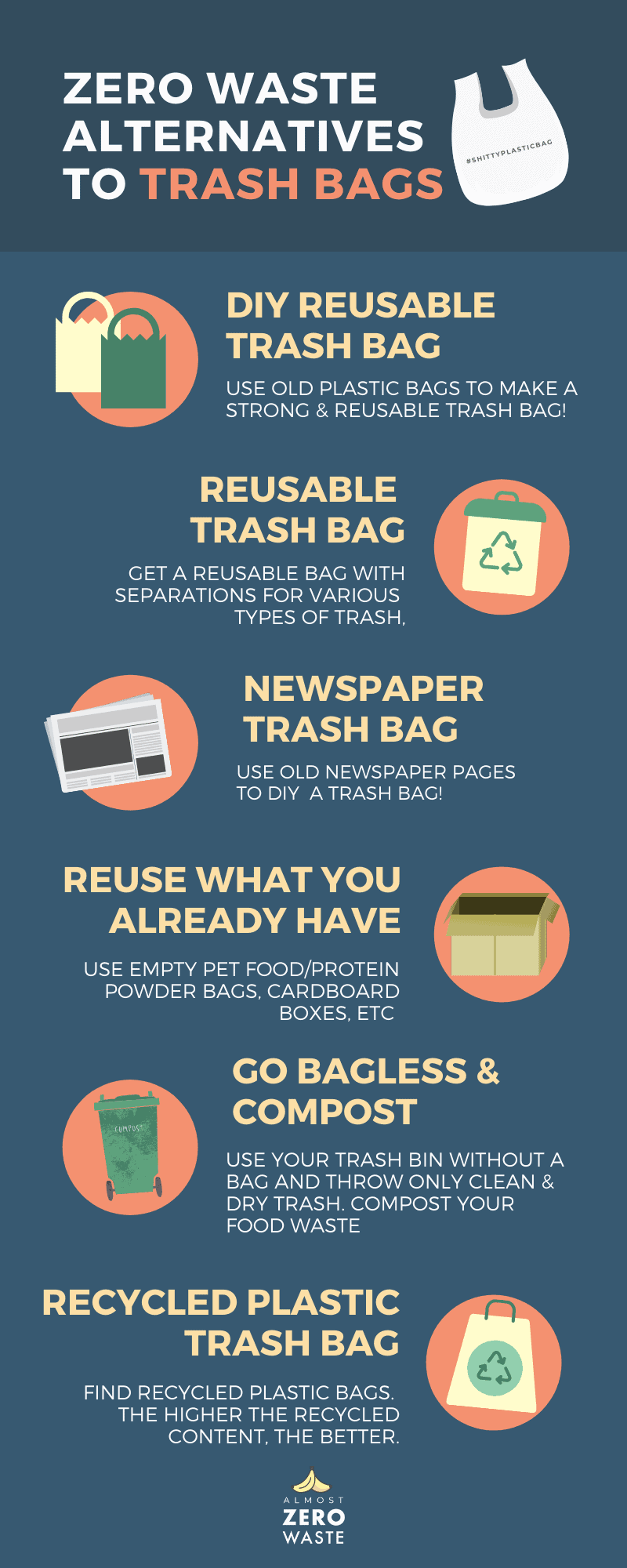 6 Zero Waste Alternatives To Trash Bags ( Infographic ) - Almost Zero Waste